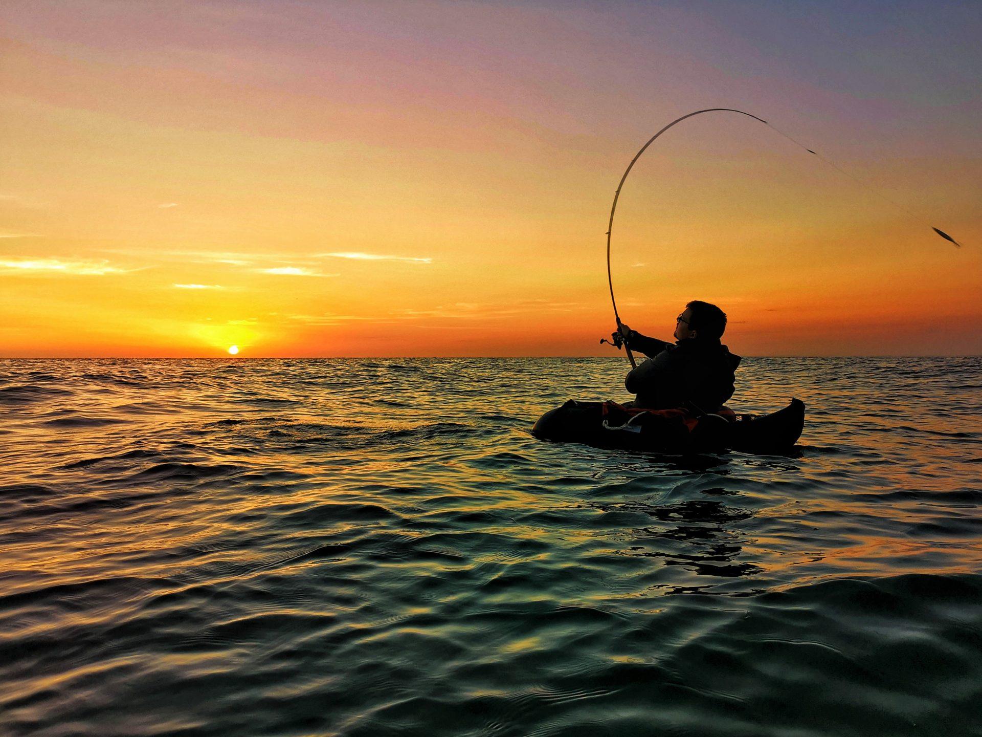 Havbarsfiskeri fra flydering og pontonbåd er spændende og givtigt.
